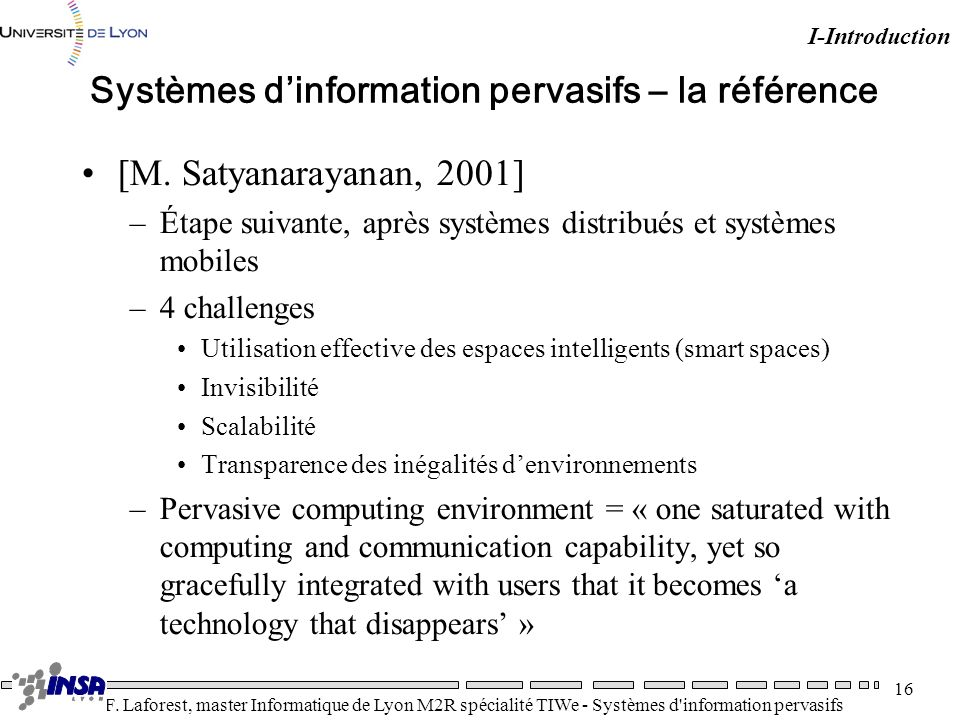 Systèmes d'information pervasifs – la référence