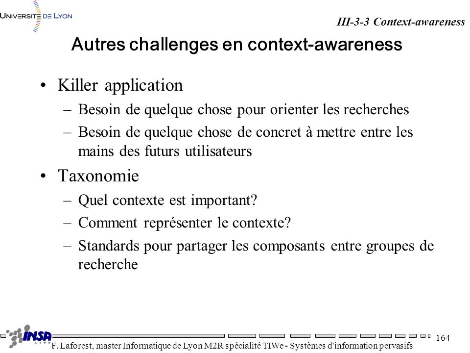 Autres challenges en context-awareness