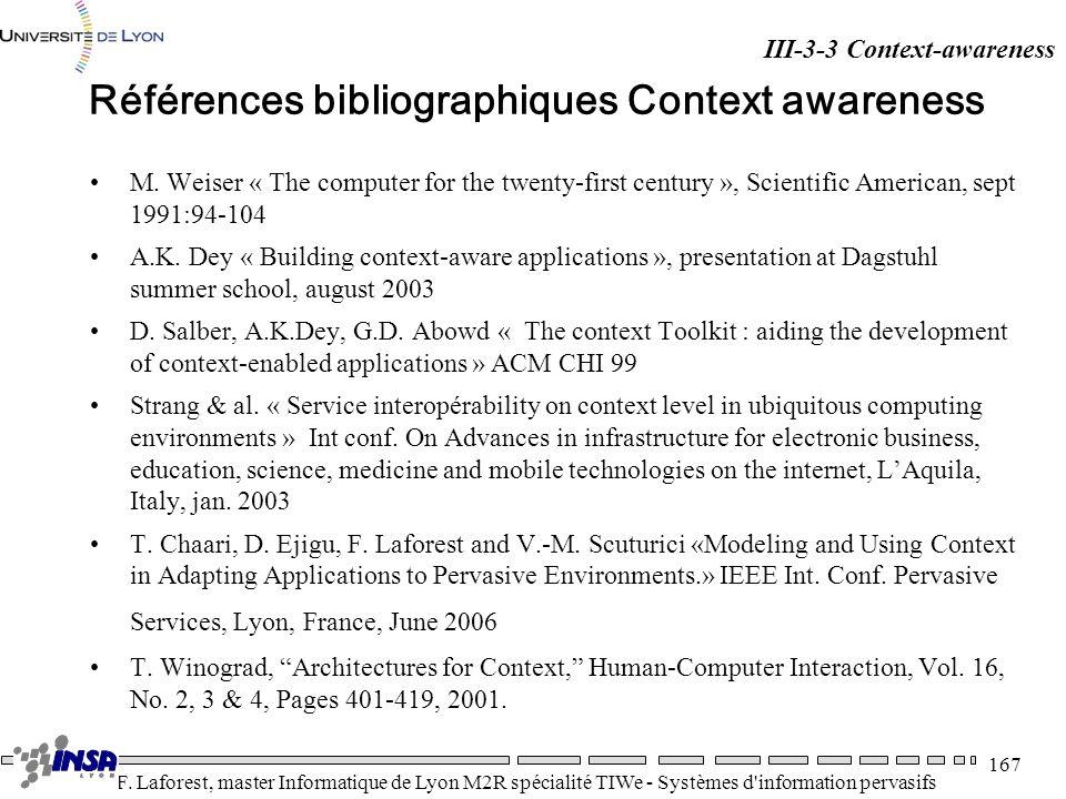 Références bibliographiques Context awareness