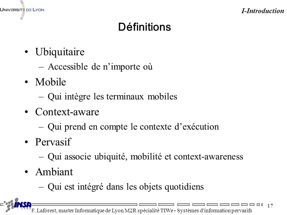Définitions Ubiquitaire Mobile Context-aware Pervasif Ambiant