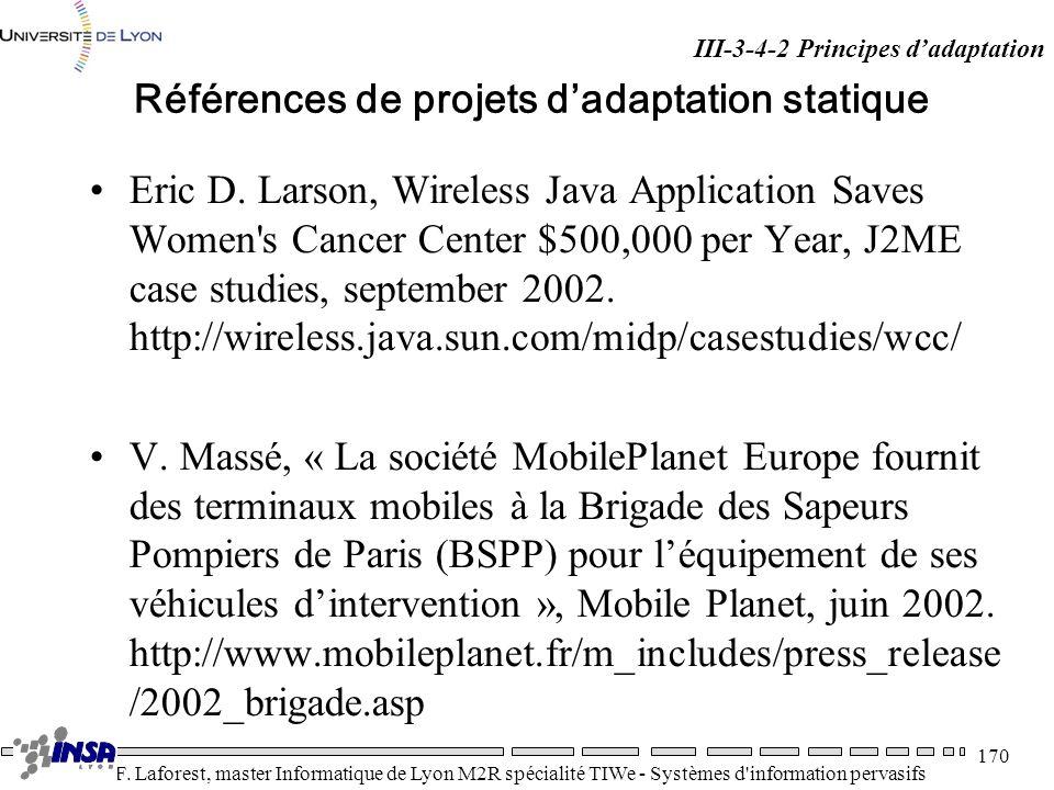 Références de projets d'adaptation statique