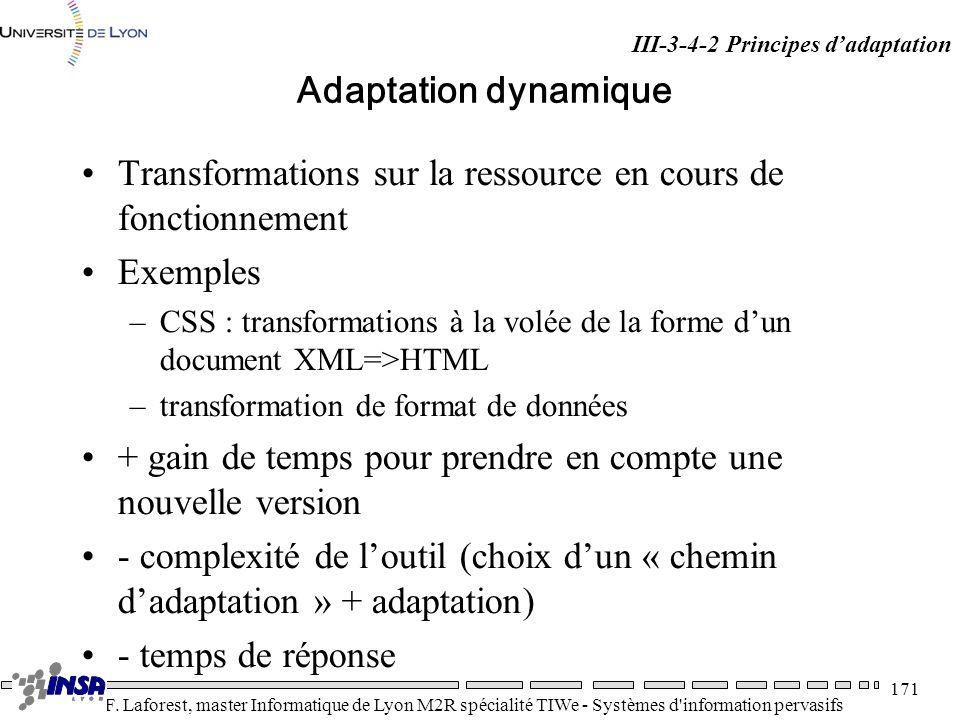 Transformations sur la ressource en cours de fonctionnement Exemples