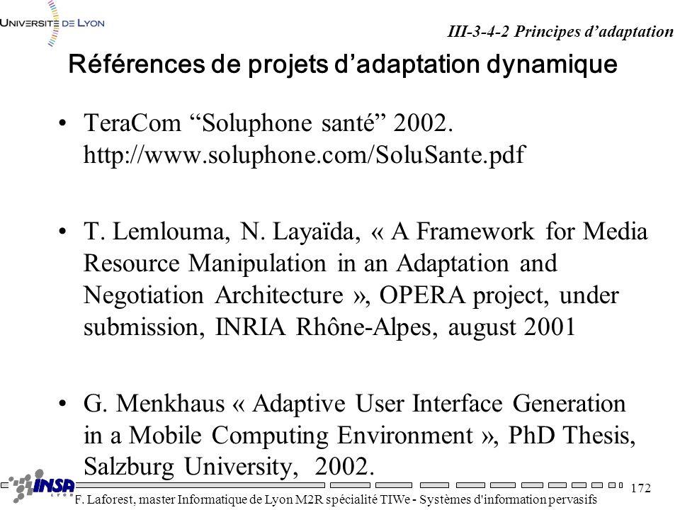 Références de projets d'adaptation dynamique