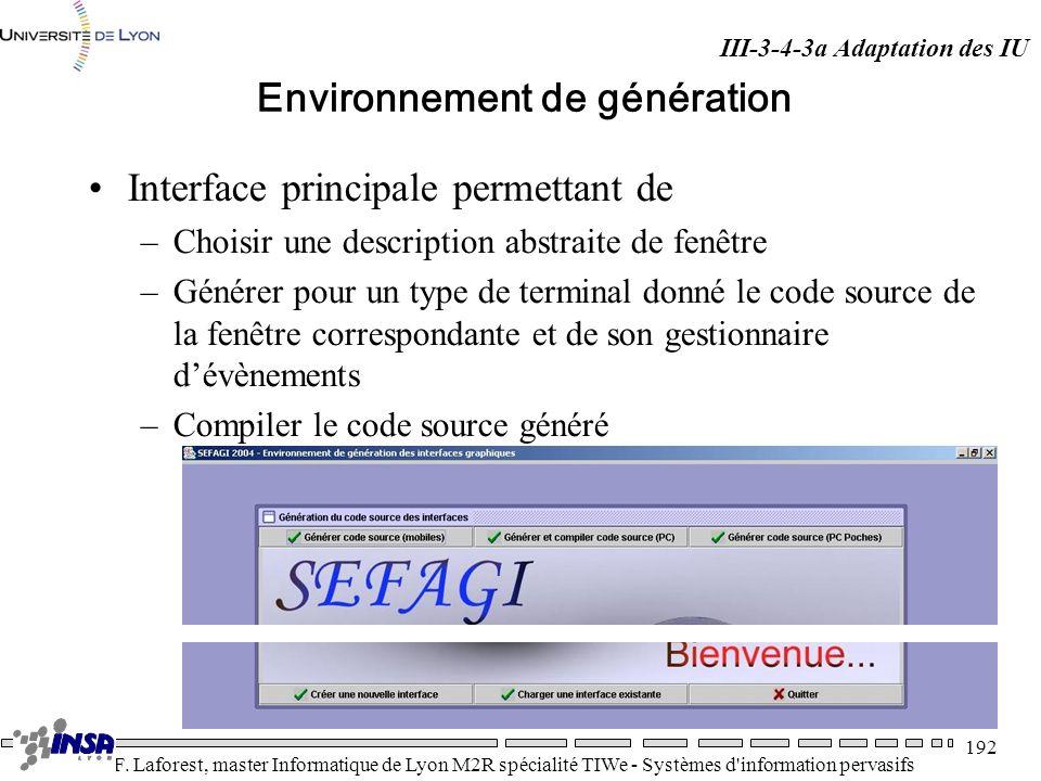 Environnement de génération