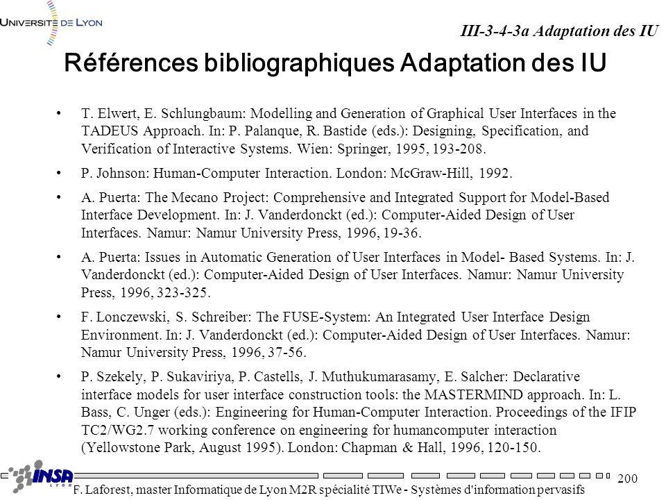 Références bibliographiques Adaptation des IU