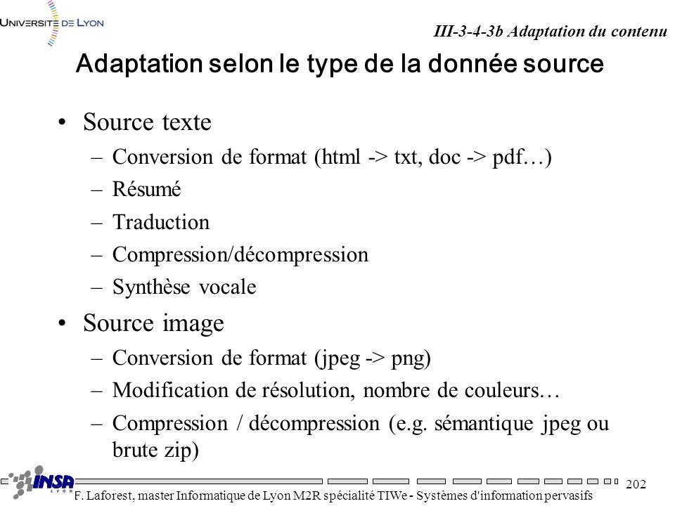 Adaptation selon le type de la donnée source