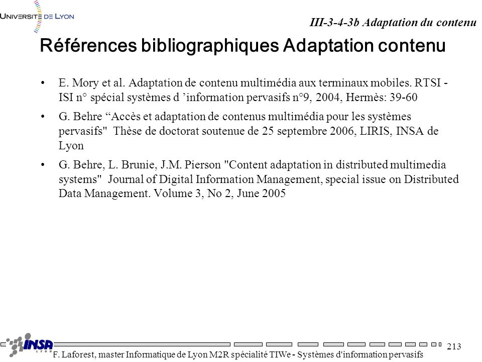 Références bibliographiques Adaptation contenu