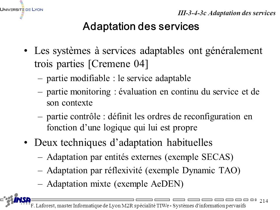 Adaptation des services