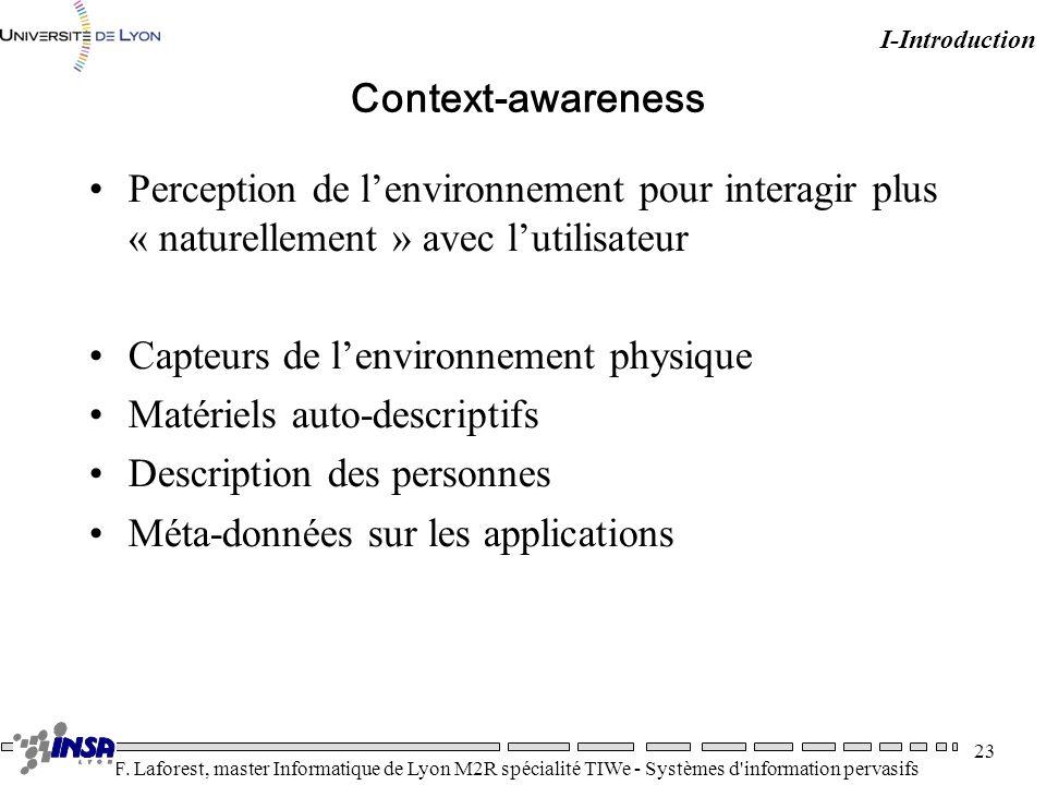 Capteurs de l'environnement physique Matériels auto-descriptifs
