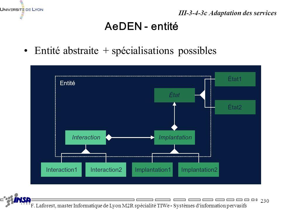 Entité abstraite + spécialisations possibles