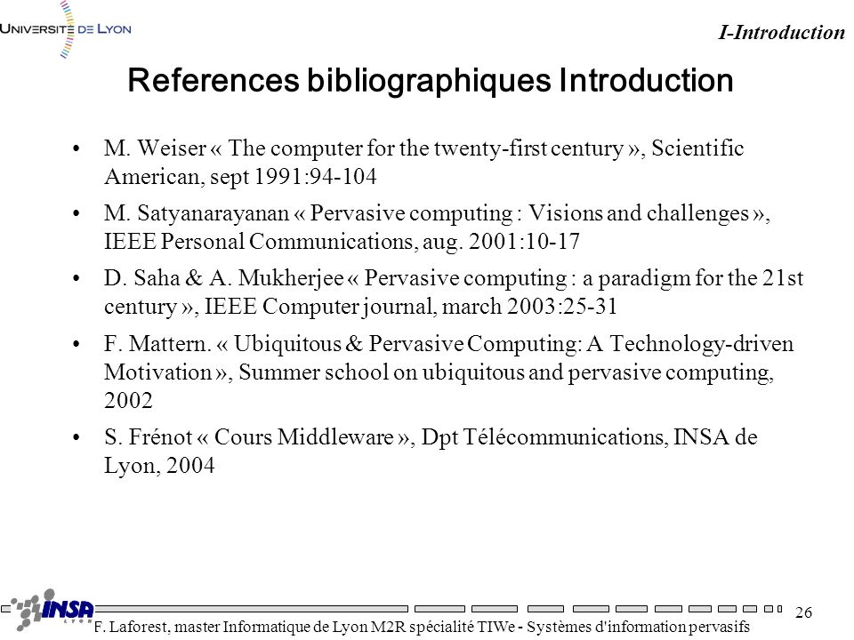 References bibliographiques Introduction