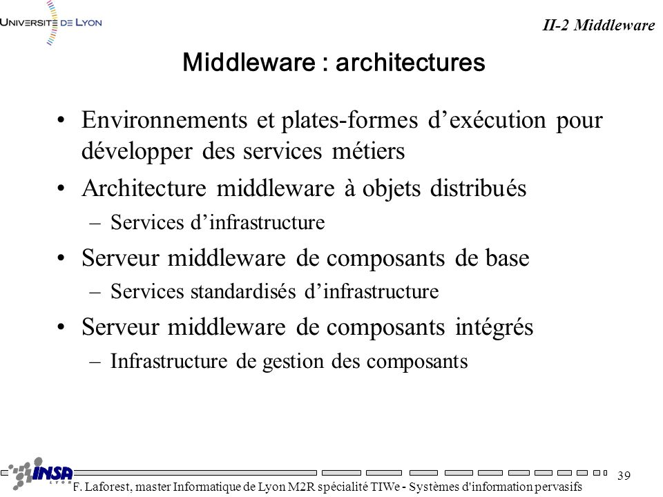 Middleware : architectures