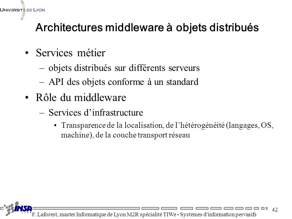 Architectures middleware à objets distribués