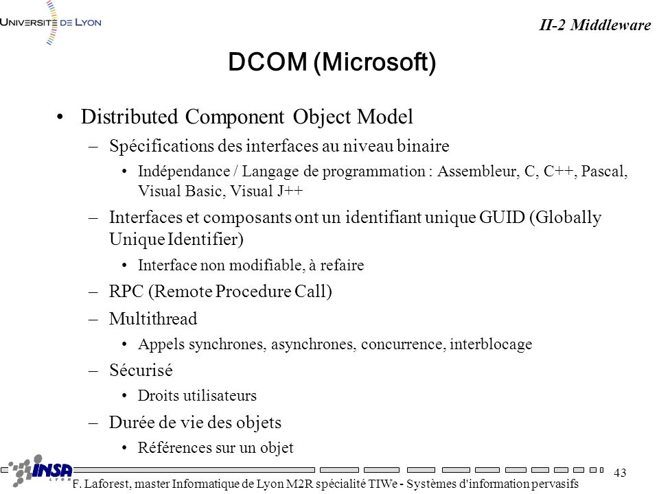 DCOM (Microsoft) Distributed Component Object Model