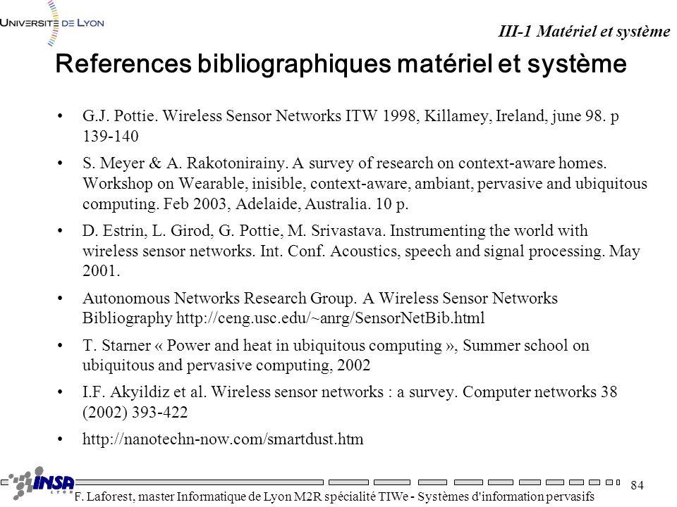 References bibliographiques matériel et système