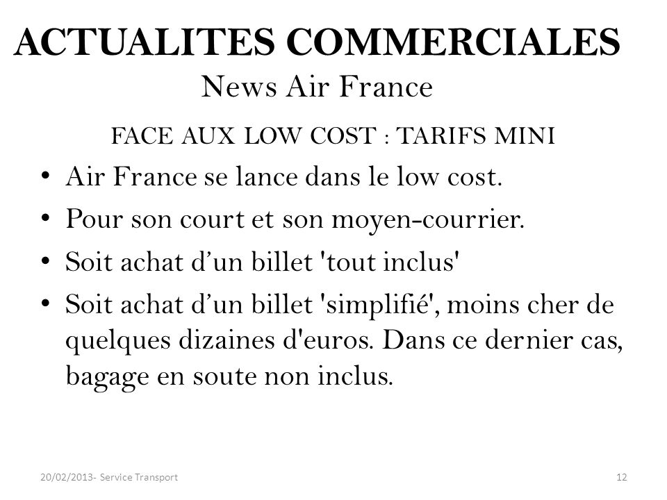 ACTUALITES COMMERCIALES News Air France