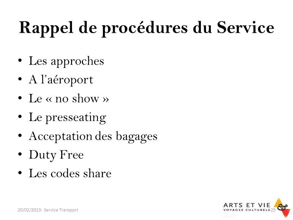 Rappel de procédures du Service