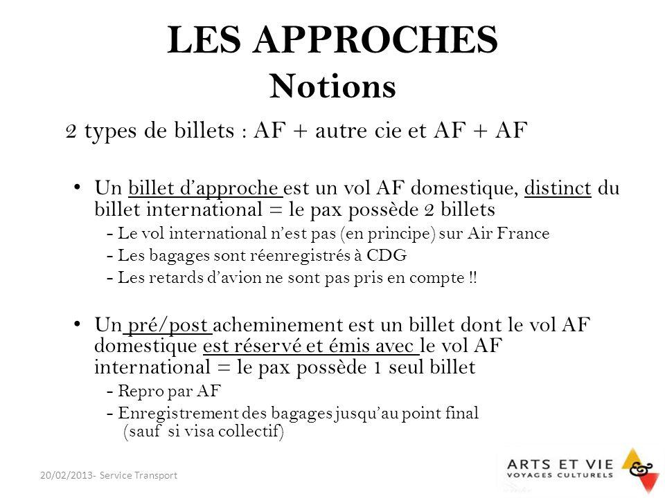LES APPROCHES Notions 2 types de billets : AF + autre cie et AF + AF