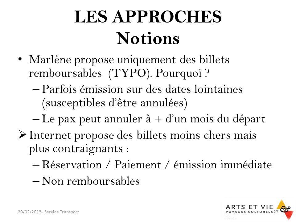 LES APPROCHES Notions Marlène propose uniquement des billets remboursables (TYPO). Pourquoi