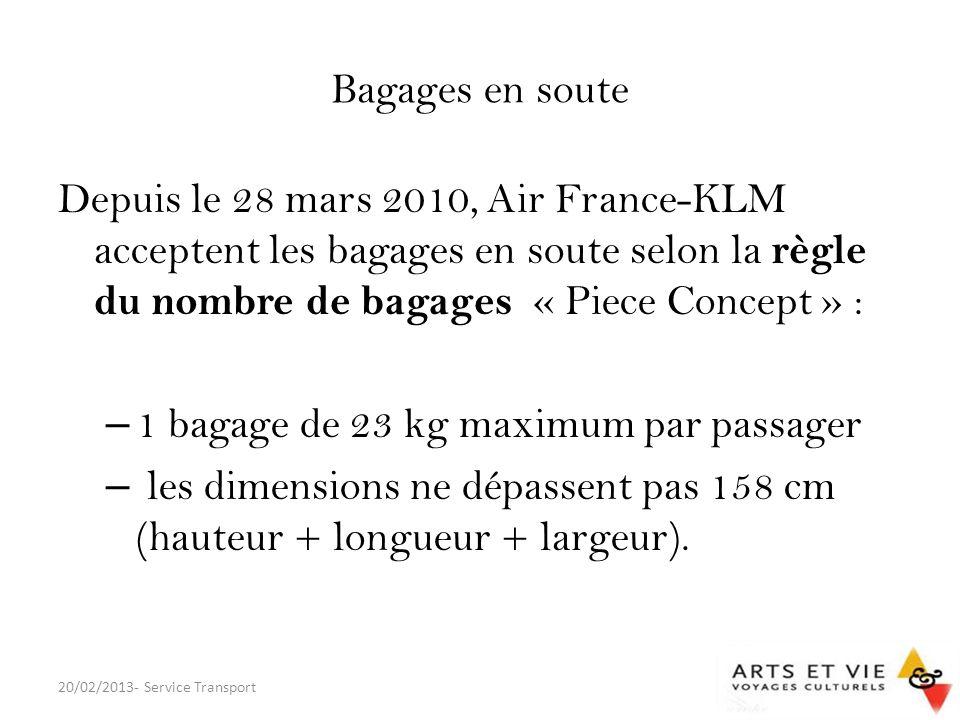 1 bagage de 23 kg maximum par passager
