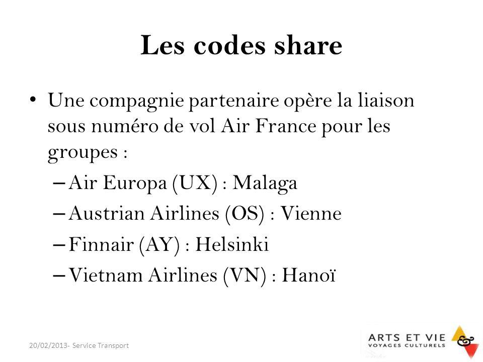 Les codes share Une compagnie partenaire opère la liaison sous numéro de vol Air France pour les groupes :