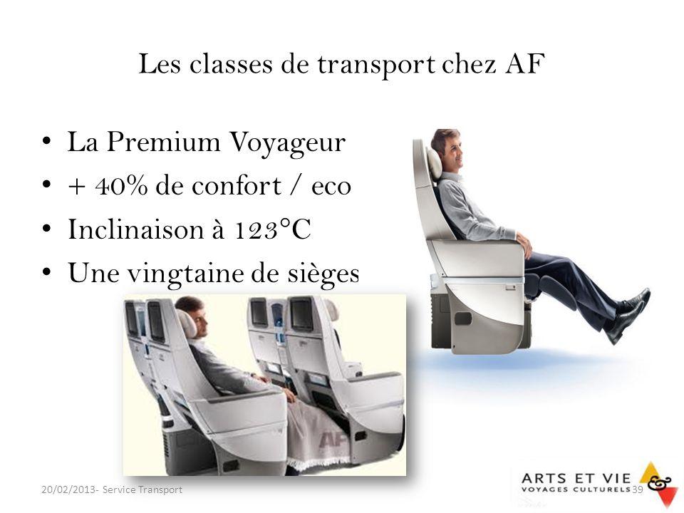Les classes de transport chez AF
