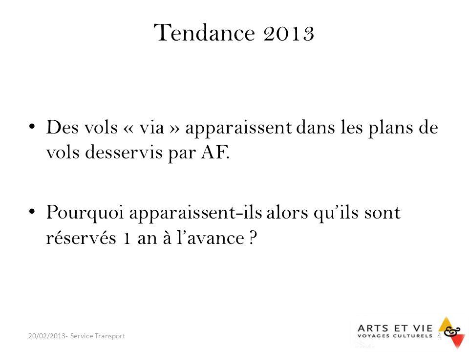 Tendance 2013 Des vols « via » apparaissent dans les plans de vols desservis par AF.