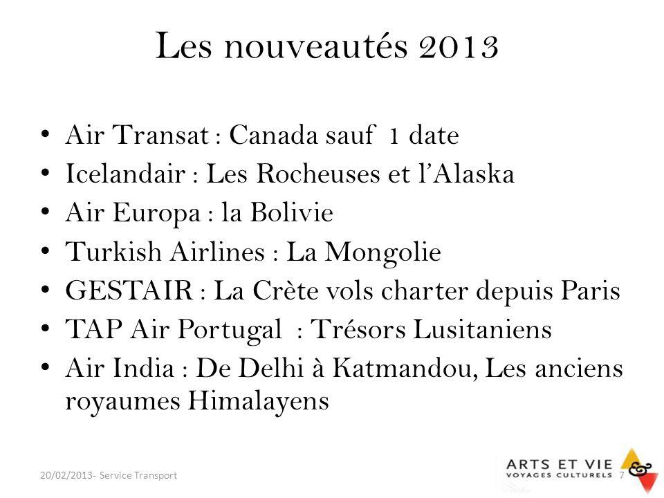 Les nouveautés 2013 Air Transat : Canada sauf 1 date