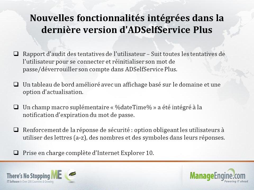 Nouvelles fonctionnalités intégrées dans la dernière version d ADSelfService Plus