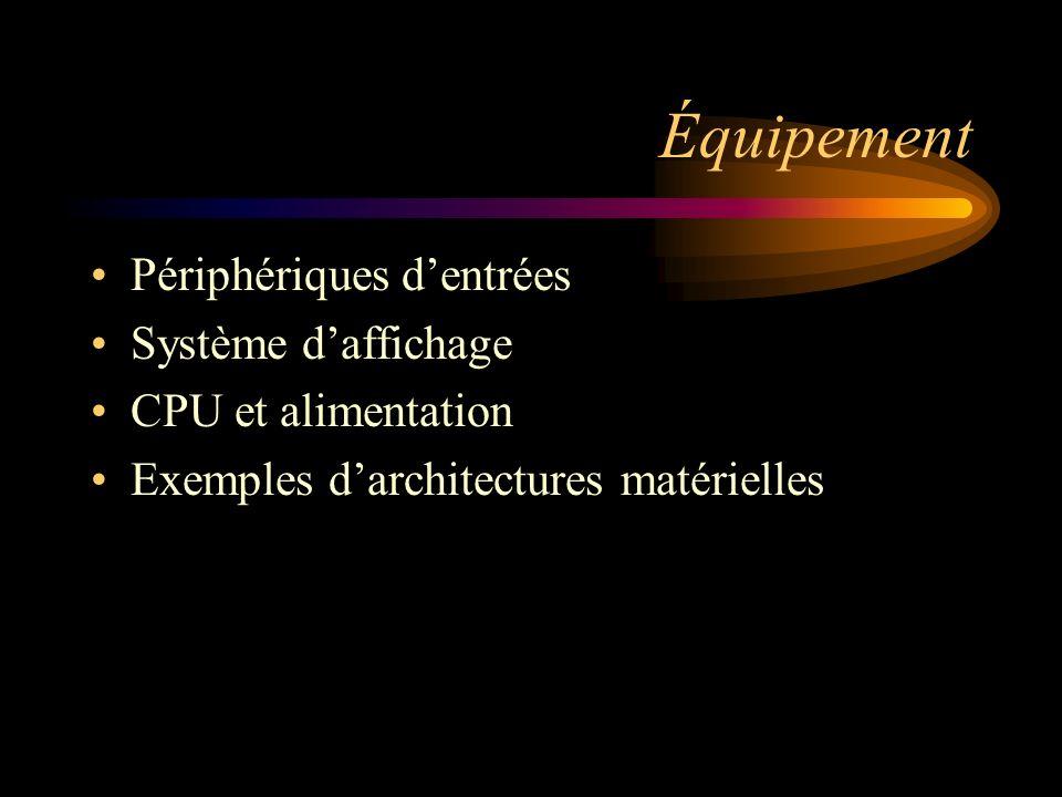 Équipement Périphériques d'entrées Système d'affichage