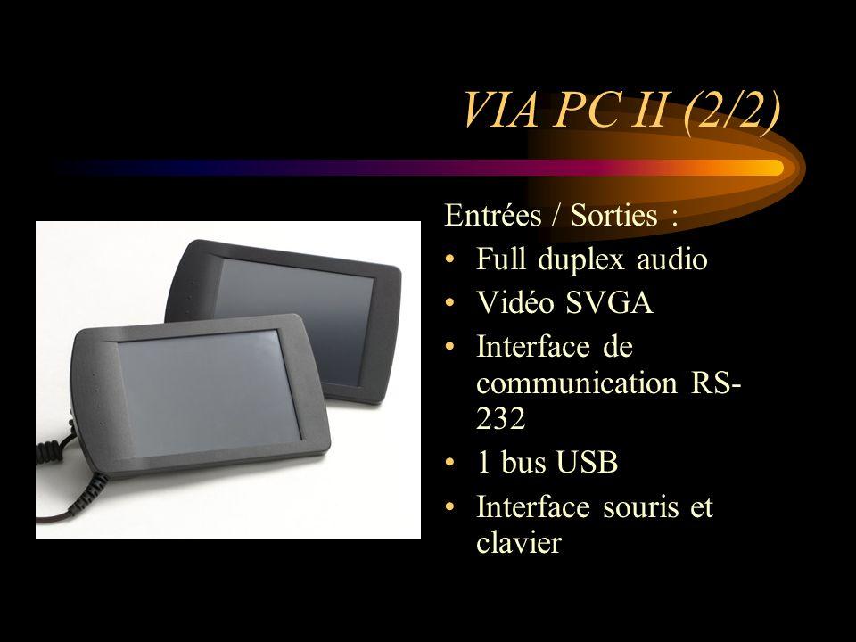 VIA PC II (2/2) Entrées / Sorties : Full duplex audio Vidéo SVGA