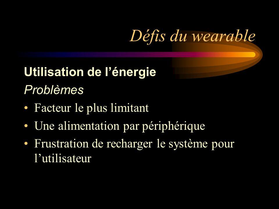 Défis du wearable Utilisation de l'énergie Problèmes