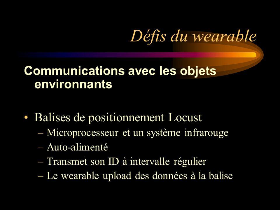 Défis du wearable Communications avec les objets environnants