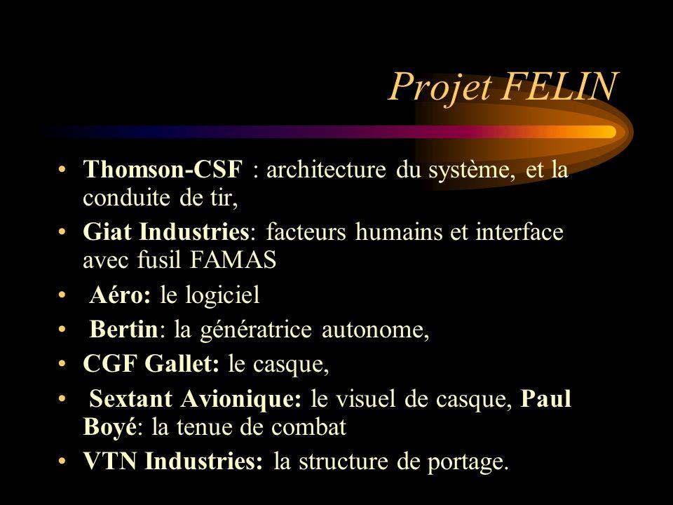 Projet FELIN Thomson-CSF : architecture du système, et la conduite de tir, Giat Industries: facteurs humains et interface avec fusil FAMAS.