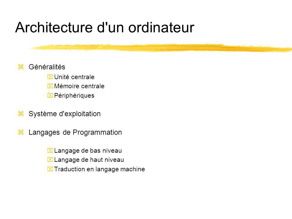 Architecture d un ordinateur