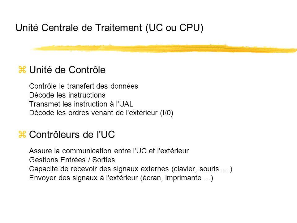 Unité Centrale de Traitement (UC ou CPU)