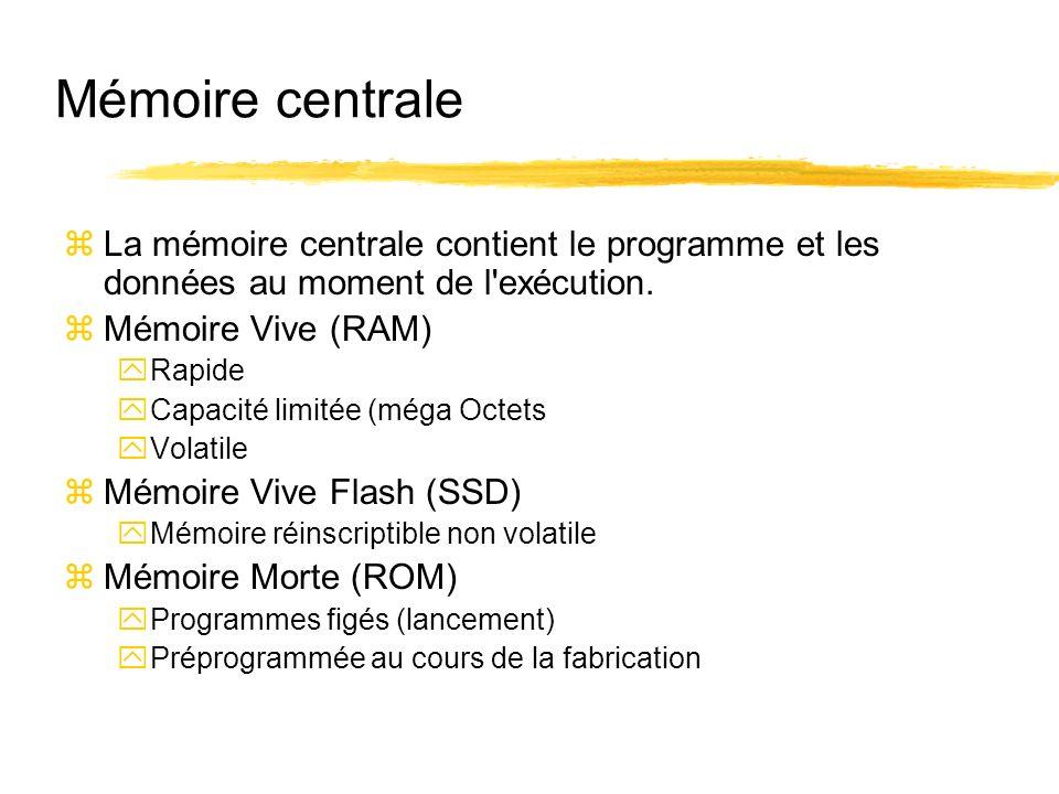 Mémoire centrale La mémoire centrale contient le programme et les données au moment de l exécution.
