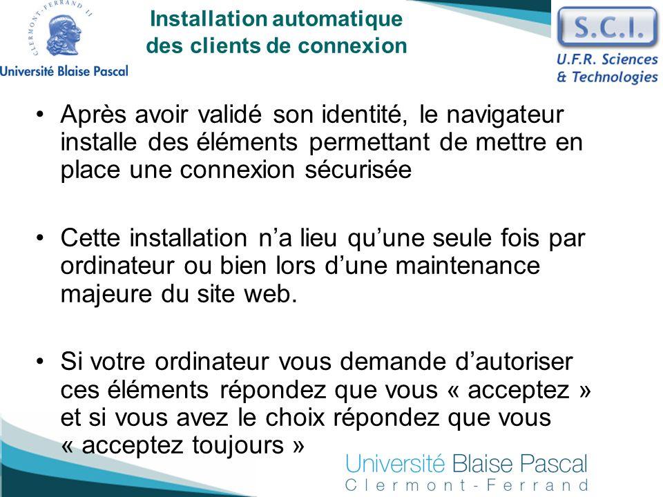 Installation automatique des clients de connexion
