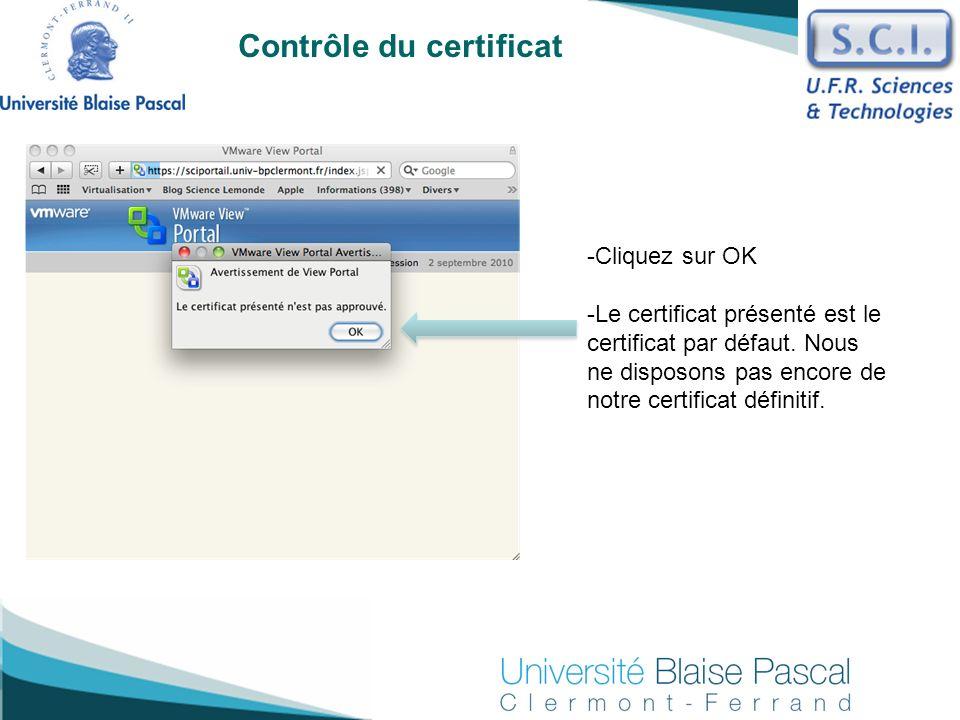 Contrôle du certificat