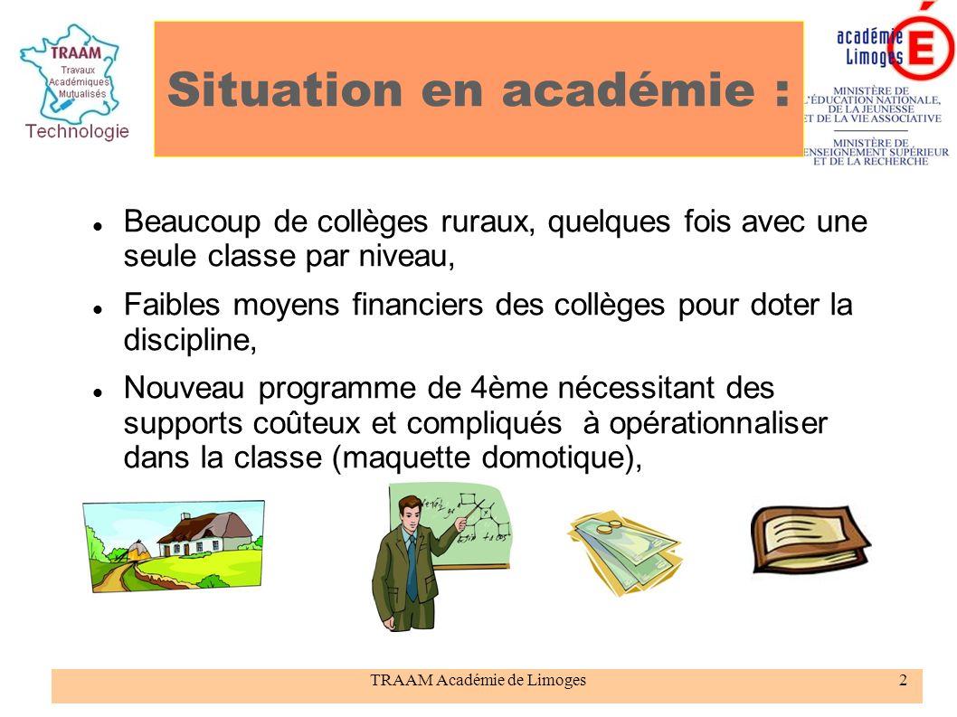 Situation en académie :