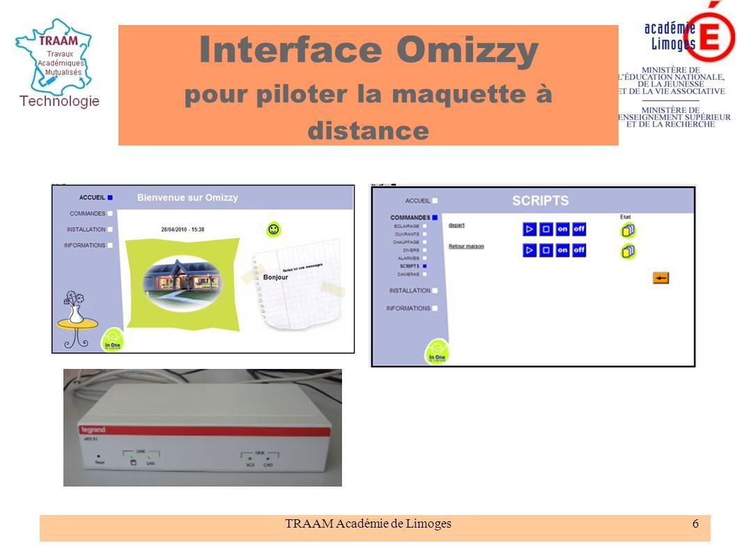 Interface Omizzy pour piloter la maquette à distance