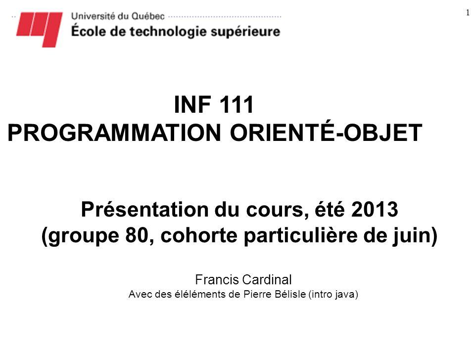 INF 111 PROGRAMMATION ORIENTÉ-OBJET