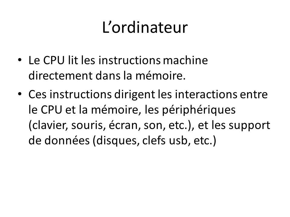L'ordinateur Le CPU lit les instructions machine directement dans la mémoire.