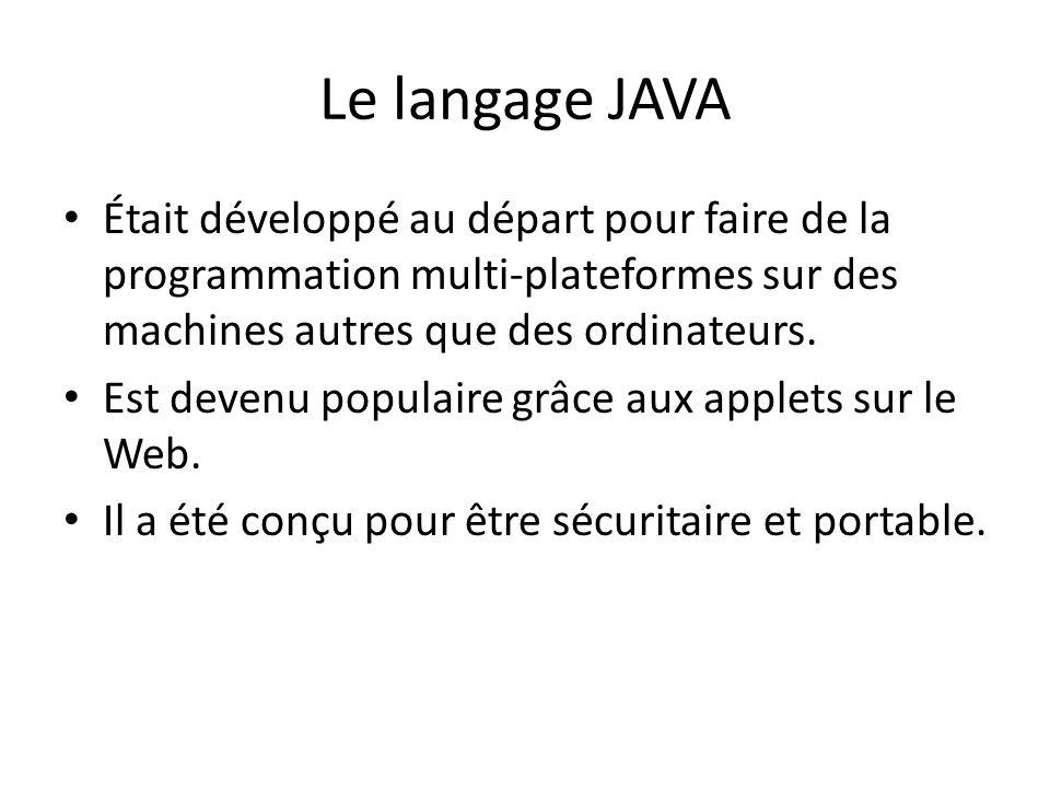 Le langage JAVA Était développé au départ pour faire de la programmation multi-plateformes sur des machines autres que des ordinateurs.