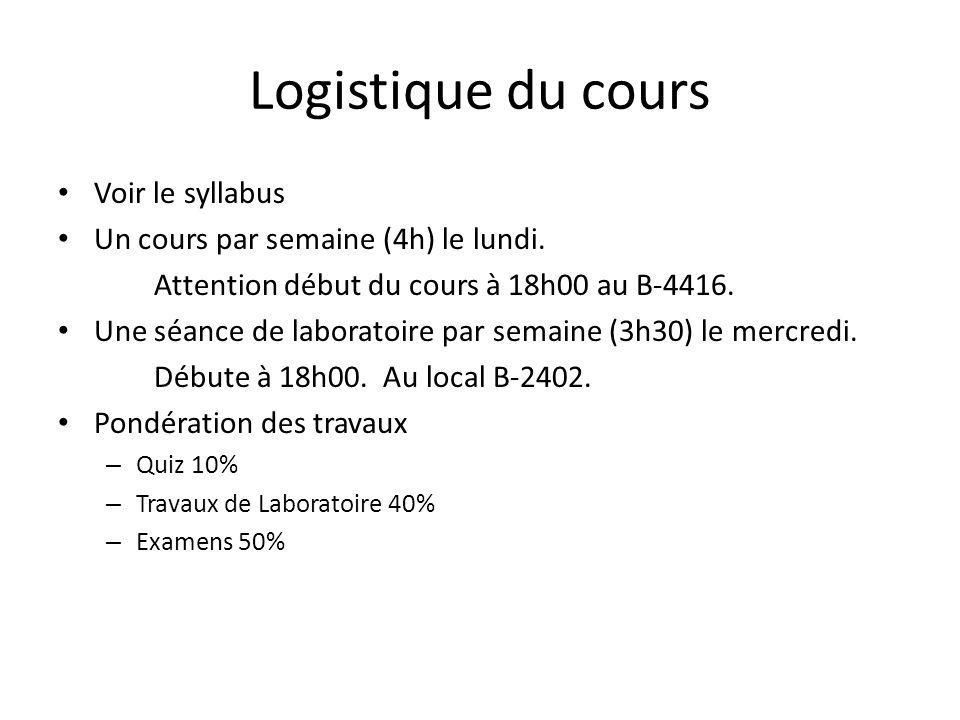 Logistique du cours Voir le syllabus