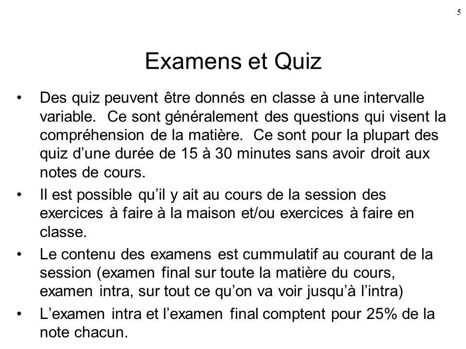 Examens et Quiz