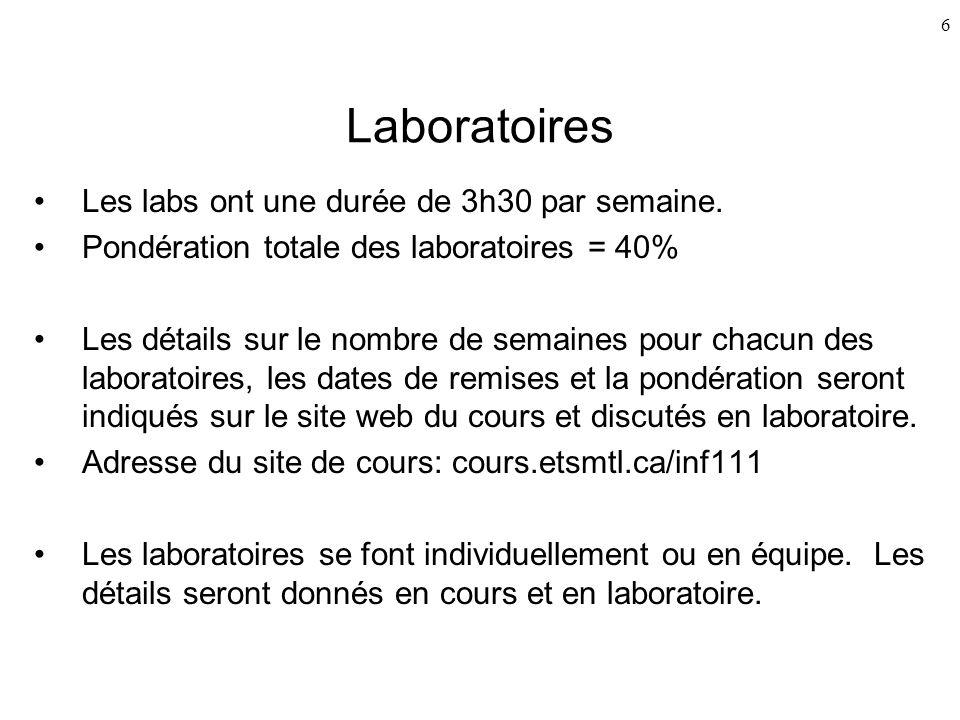 Laboratoires Les labs ont une durée de 3h30 par semaine.