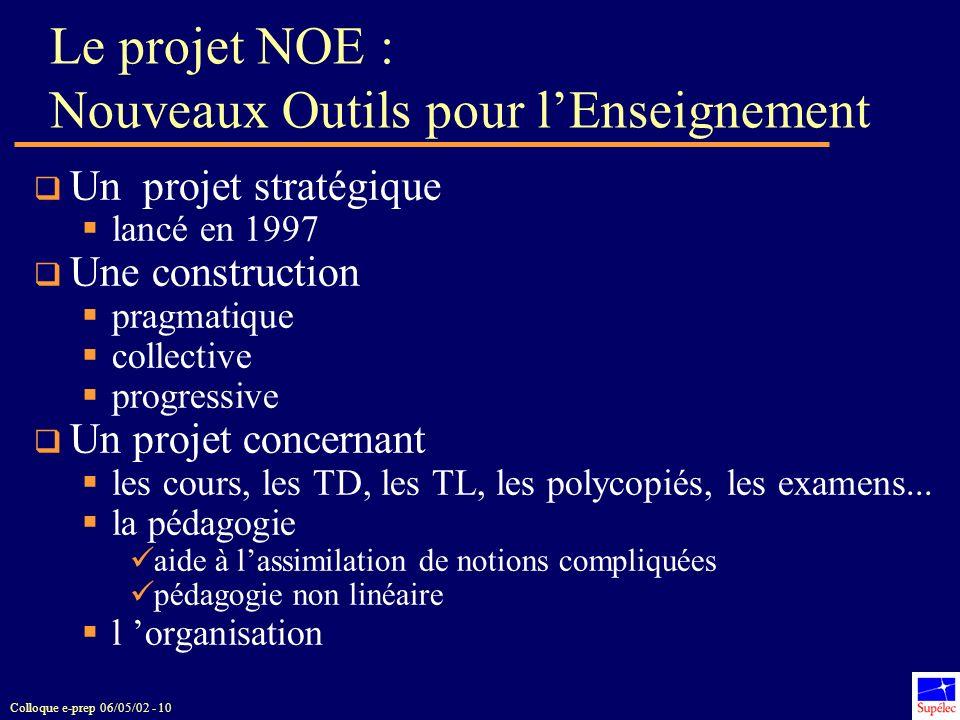 Le projet NOE : Nouveaux Outils pour l'Enseignement