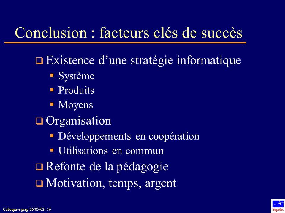Conclusion : facteurs clés de succès