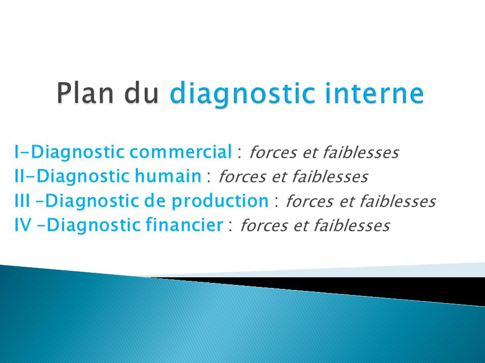 Plan du diagnostic interne